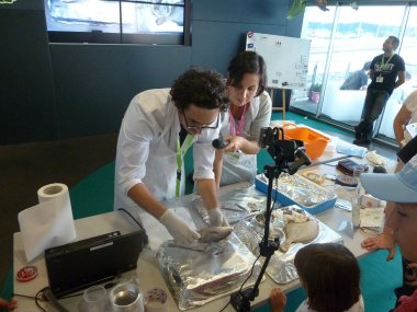 Pierre Labadie (Epoc) and Claire Gouny (LabEx COTE) performing dissection - Photo credits LabEx COTE
